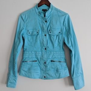 Le Château zip up jacket in turquoise